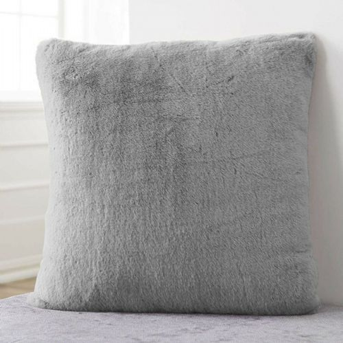 Large Luxury Faux Rabbit Fur Soft Plush Filled Cushion Plain Silver Grey 56cm x 56cm